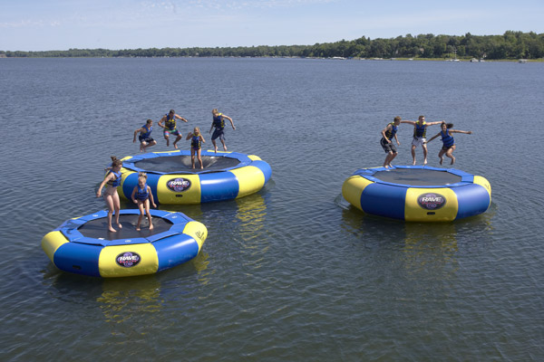 Several Water Trampolines Set Up